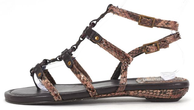 STUART WEITZMAN Brown Snakeskin Embossed Gladiator Sandals