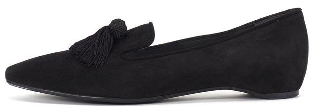 STUART WEITZMAN Black Suede Tassel Embellished Loafers