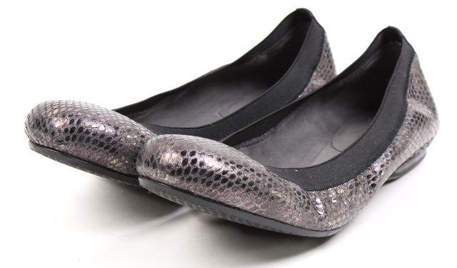 STUART WEITZMAN Gunmetal Neutron Snake Embossed Adaptable Ballet Flats