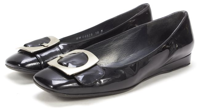 STUART WEITZMAN Black Patent Leather Silver Hardware Square Toe Flats