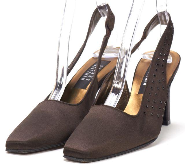 STUART WEITZMAN Brown Satin Jewel Embellishment Slingback Pump Heels