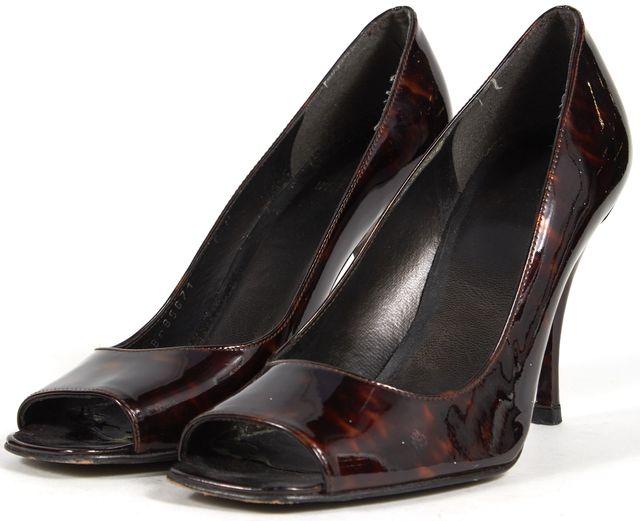 STUART WEITZMAN Brown Heels Tortoise Patent Leather Square Open Toe Pumps Sz6