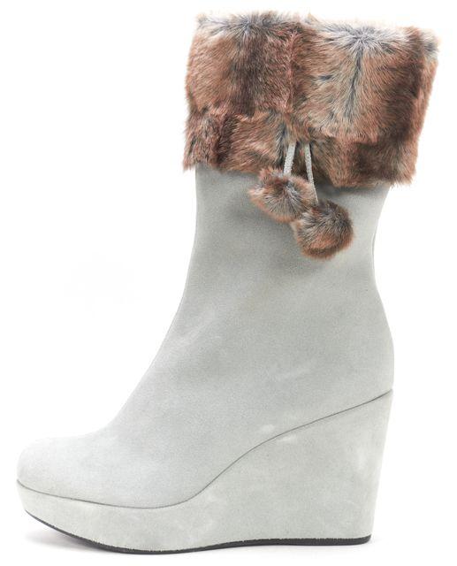 STUART WEITZMAN Blush Blue Suede Faux Fur Trim Mid-Calf High Tall Boots