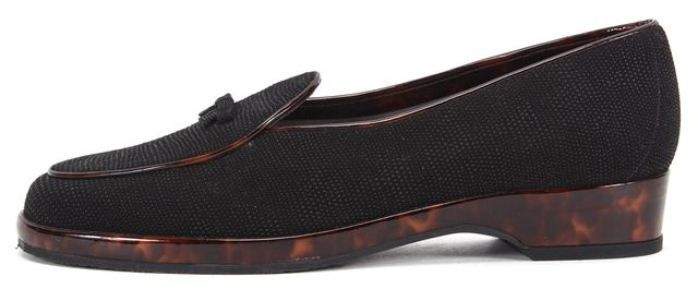 STUART WEITZMAN Black Canvas Patent Leather Tortoise Trim Pointed Loafers