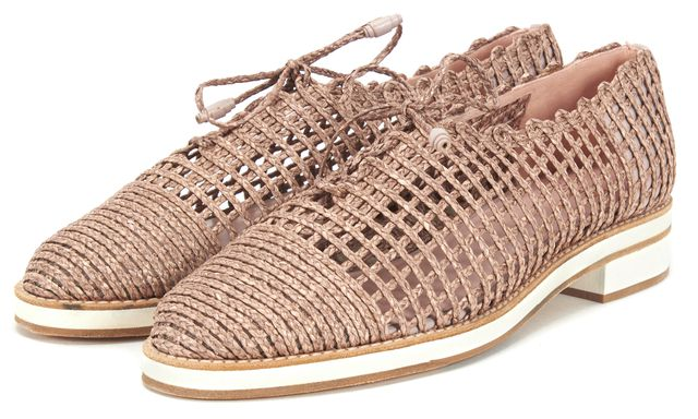 STUART WEITZMAN Pink Flax Twine Jazzy Girl Lace Up Shoes