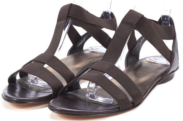 STUART WEITZMAN Brown Elastic Leather Trim T-Strap Sandals