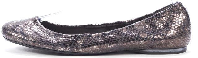 STUART WEITZMAN Gray Silver Snake Embossed Leather Ballet Flats