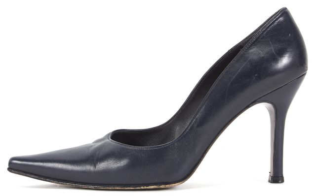 STUART WEITZMAN Navy Blue Leather Pointed-Toe Heels