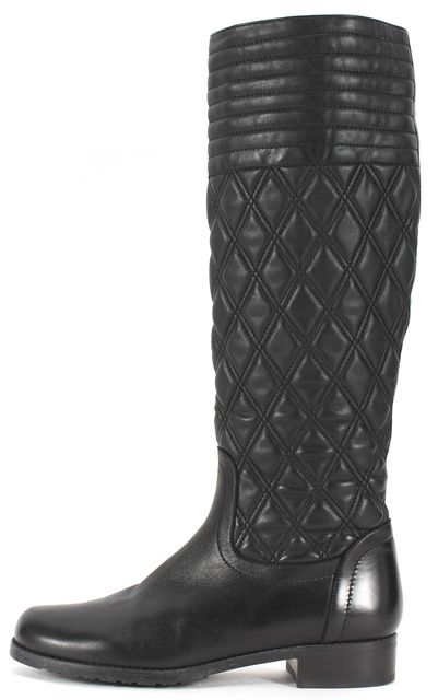 STUART WEITZMAN Black Quilted Leather Knee-High Boots