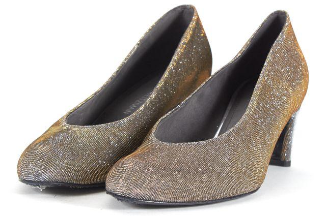 STUART WEITZMAN Metallic Silver Gold Almond Toe Pump Heels