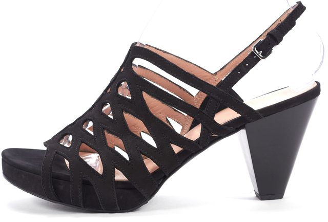 STUART WEITZMAN Black Suede Cut-Out Sandal Heels