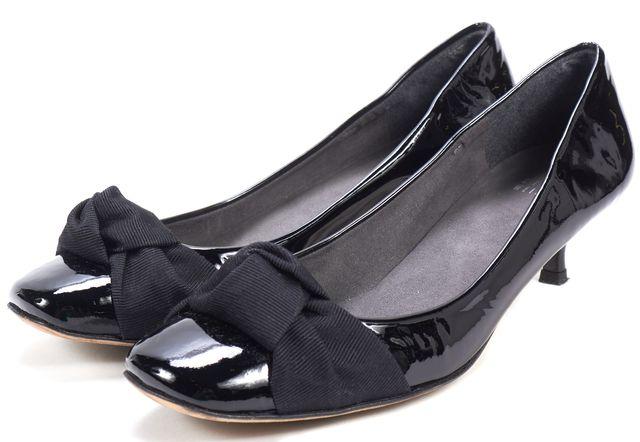 STUART WEITZMAN Black Patent Leather Satin Trim Kitten Heels
