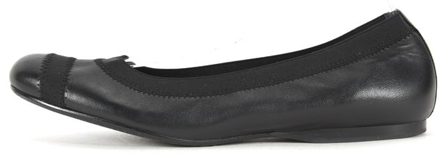 STUART WEITZMAN Black Leather Canvas Trim Round Toe Ballet Flats