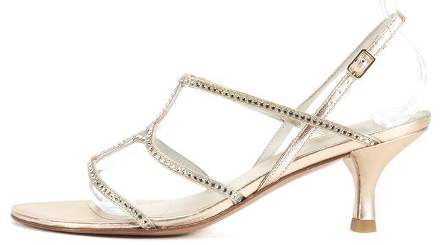 STUART WEITZMAN Gold Leather Crystal Detail Kitten Heel Sandals