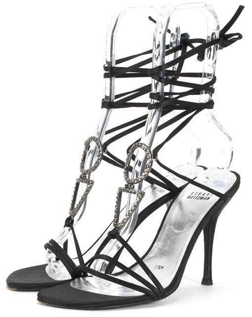 STUART WEITZMAN Black Jewel Embellished Wrap Around Sandal Heels