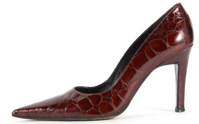 STUART WEITZMAN Maroon Red Snake Embossed Leather Pointed Toe Pumps