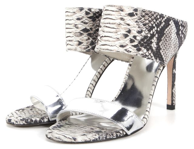 STUART WEITZMAN Silver Snake Embossed Leather Two Strap Sandal Heels