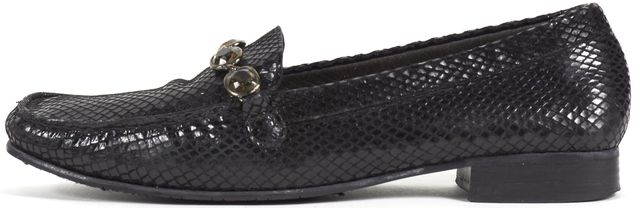 STUART WEITZMAN Black Snake Embossed Leather Jewel Embellished Loafers