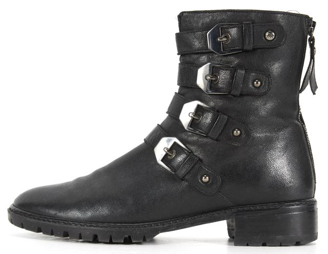 STUART WEITZMAN Black Pebbled Leather Buckle Ankle Boots