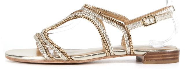 STUART WEITZMAN Gold Braided Leather Chain Link Flat Sandals