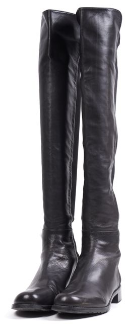 STUART WEITZMAN Black Leather Elastic 5050 Tall Over The Knee Boots