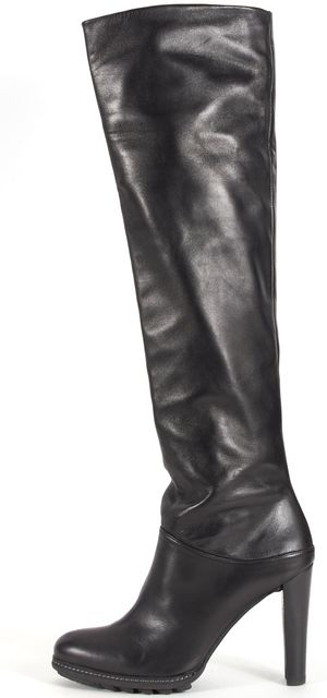 STUART WEITZMAN Black Nappa Leather Heeled Thigh-High Boots