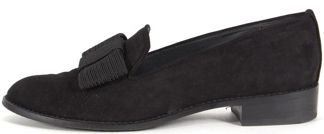 STUART WEITZMAN Black Suede Canvas Bow Loafers