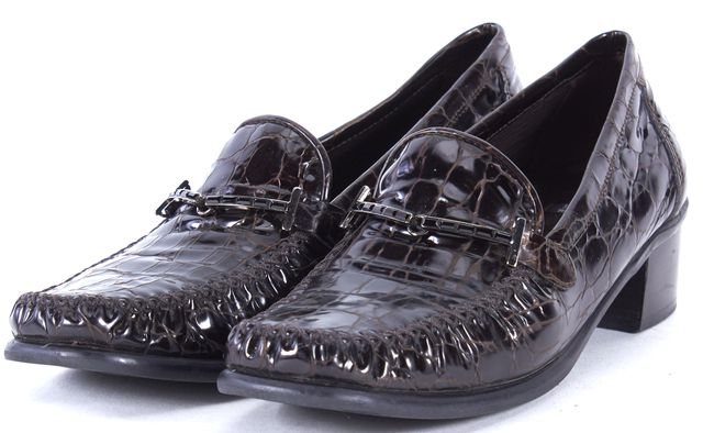 STUART WEITZMAN Brown Crocodile Embossed Patent Leather Loafers
