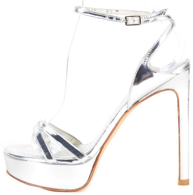 STUART WEITZMAN Silver Patent Leather Platform Heels