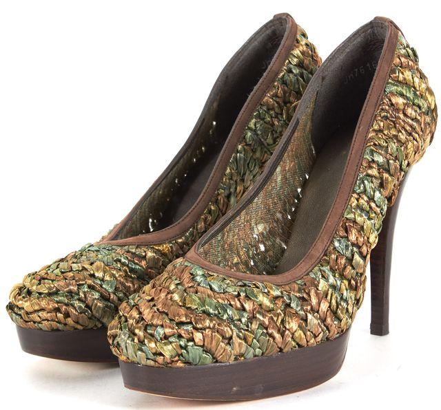 STUART WEITZMAN Metallic Green Brown Raffia Swoon Platform Heels