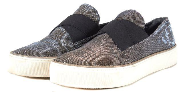 STUART WEITZMAN Gold Silver Metallic Sparkle Slip On Platform Sneakers