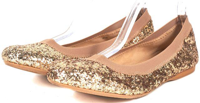 STUART WEITZMAN Gold Glitter Lastikon Ballet Flats
