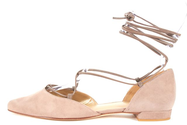 STUART WEITZMAN Beige Suede Pointed Toe Lace Up d'Orsay Flats