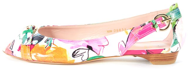 STUART WEITZMAN Multi Floral Patent Leather Peep Toe Chit Chat Flats