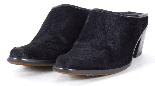 STUART WEITZMAN Black Pony Hair Pointed Toe Block Heel Mules