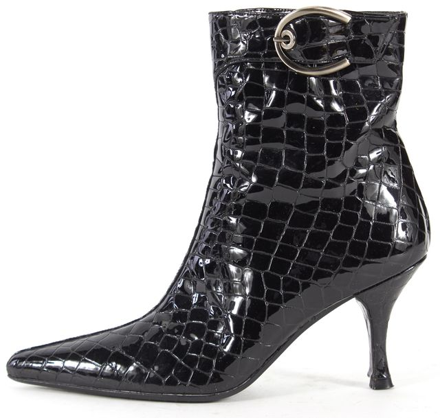 STUART WEITZMAN Black Patent Leather Snake Embossed Ankle Boots