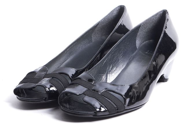 STUART WEITZMAN Black Patent Leather Peep Toe Mini Wedges