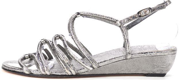 STUART WEITZMAN Metallic Silver Textured Leather Wedged Sandals