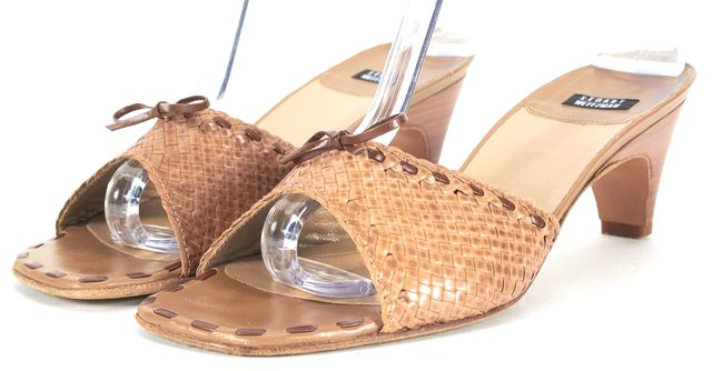 STUART WEITZMAN Brown Embossed Leather Sandal Mule Heels