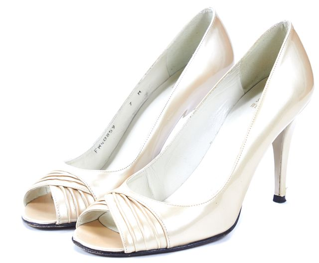 STUART WEITZMAN Ivory Patent Leather Peep Toe Pumps