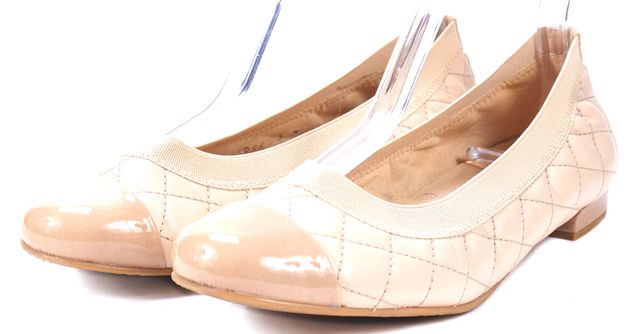 STUART WEITZMAN Blush Beige Quitted Leather Patent Cap Toe Ballet Flats