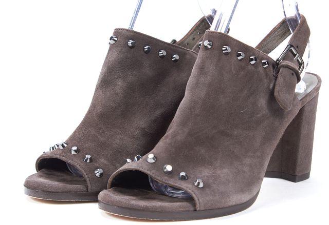 STUART WEITZMAN Brown Suede Stud Embellished Open Toe Heels