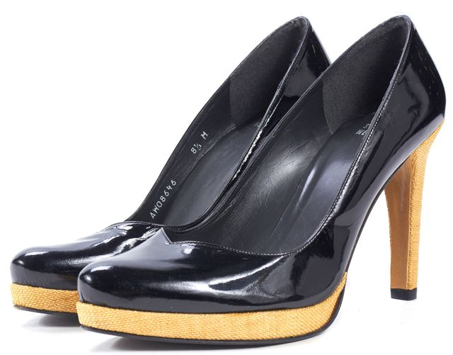 STUART WEITZMAN Black Patent Leather Canvas Trim Platform Heels