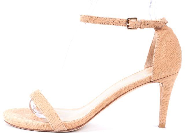 STUART WEITZMAN Beige Embossed Canvas Sandal Heels