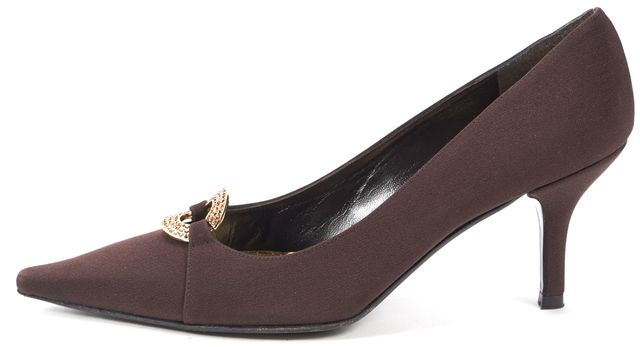 STUART WEITZMAN Chocolate Satin Crystal Embellished Pointed Toe Heels