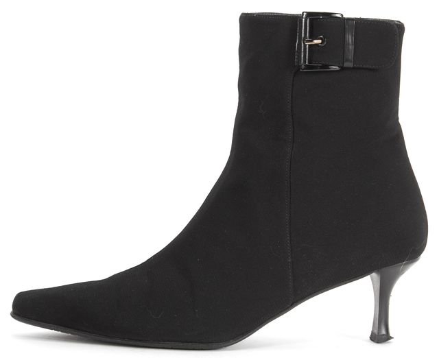 STUART WEITZMAN Black Satin Pointed Toe Kitten Heel Ankle Boots