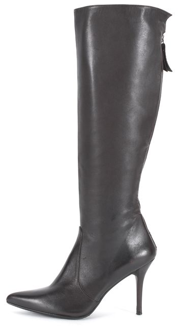 STUART WEITZMAN Chocolate Brown Leather Pointed Toe Heeled Knee-High Boots