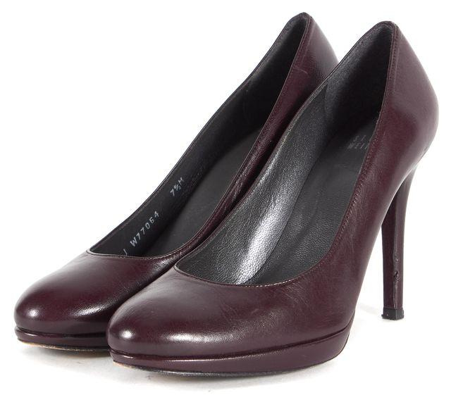 STUART WEITZMAN Wine Red Leather Platform Pump Heels
