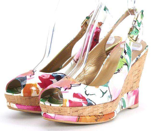 STUART WEITZMAN Pink White Floral Patent Leather Peep Toe Wedges