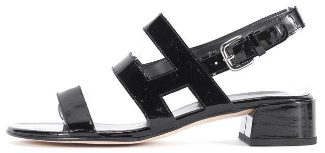STUART WEITZMAN Black Patent Leather Barrio Slingback Sandal Heels